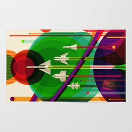 NASA Space Saturn Shuttle Retro Poster Futuristic Explorer Rug