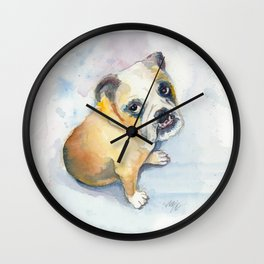Sweet Bulldog Puppy Wall Clock