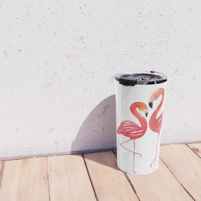 Flamingo Love Watercolor Painting Travel Mug