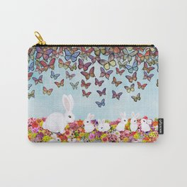 bunnies, flowers, and butterflies Carry-All Pouch