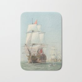 Vintage Ship Art Bath Mat