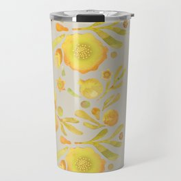 Granada Floral in Yellow on grey Travel Mug