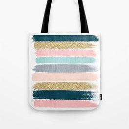 Zara - minimal gold navy pink pastel stripes painterly boho decor trendy gifts Tote Bag