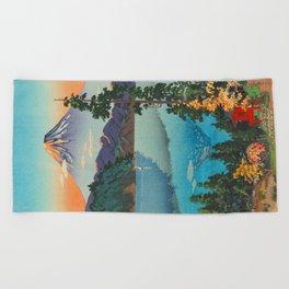 Tsuchiya Koitsu Vintage Japanese Woodblock Print Fall Autumn Mount Fuji Beach Towel