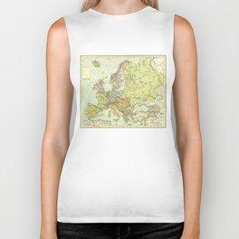Vintage Map of Europe (1918) Biker Tank