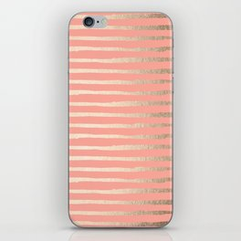 Abstract Stripes Gold Coral Pink iPhone Skin
