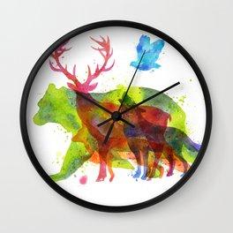Watercolor animals save the nature Wall Clock