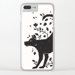 Dogs of Fall - black and white Clear iPhone Case
