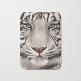White Tiger Painting Bath Mat