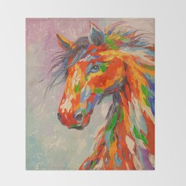 A COLORFUL HORSE Throw Blanket