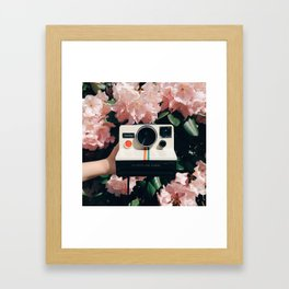 Polaroid & Flowers Framed Art Print