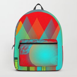 Terraced houses on red - by Matilda Lorentsson Backpack