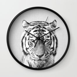 Tiger - Black & White Wall Clock
