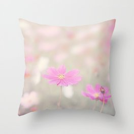 romantic flowers in soft pastel tones Throw Pillow