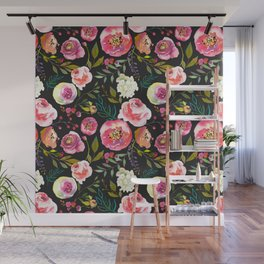 black and pink floral Wall Mural