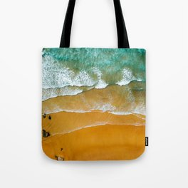 Ocean Waves Crushing On Beach, Drone Photography, Aerial Photo, Ocean Wall Art Print Decor Tote Bag