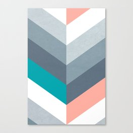 Vertical Chevron Pattern - Teal, Coral and Dusty Blues #geometry #minimalart #society6 Canvas Print