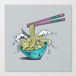 The Great Wave of Noodles with chopstick Canvas Print