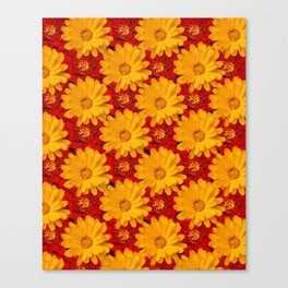 A Medley of Red and Yellow Marigolds Canvas Print