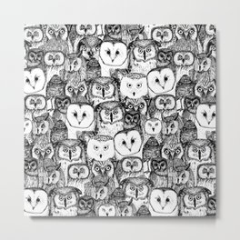 just owls black white Metal Print