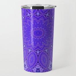 Lovely Healing Mandala  in Brilliant Colors: Purple and Blue Travel Mug
