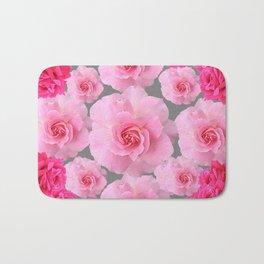 PINK ROSE FLOWERS 0N GREY Bath Mat
