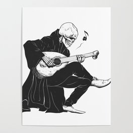 Minstrel playing guitar,grim reaper musician cartoon,gothic skull,medieval skeleton,death poet illus Poster