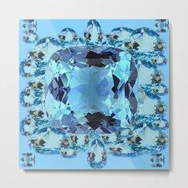 APRIL BIRTHSTONE BLUE AQUAMARINES FACETED GEMS  ART Metal Print