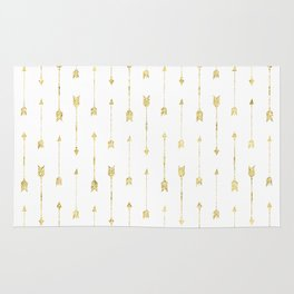 White And Gold Glitter Arrow Pattern Rug