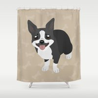 terrier Shower Curtains featuring Boston Terrier by Sarah