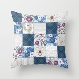 Patchwork  floral lace pattern background Throw Pillow
