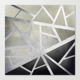 Textured Metal Geometric Gradient With Silver Canvas Print