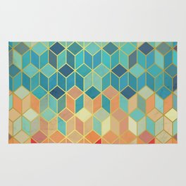 Colorful Squares with Gold - Friendly Colors and Marble Texture Rug