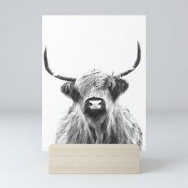 Black and White Highland Cow Portrait Mini Art Print