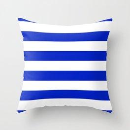 Cobalt Blue and White Wide Cabana Tent Stripe Throw Pillow