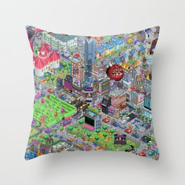 Videogame City V2.0 Throw Pillow