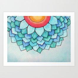 Pencil Watercolor Tropical Flower Art Print