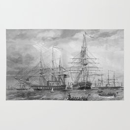 U.S. Naval Fleet During The Civil War Rug
