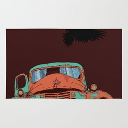 Art print: The old vintage car, the Raven and the Wolf skull Rug