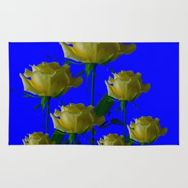 IVORY WHITE LONG STEMMED ROSES ON BLUE Rug