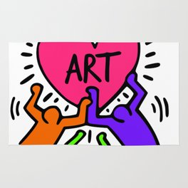 """Keith Haring inspired """"I Love Art"""" Secondary Colors edition Rug"""