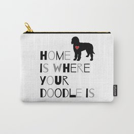 Home is where your Doodle is, (black & gray) Art for the Labradoodle or Goldendoodle dog lover Carry-All Pouch