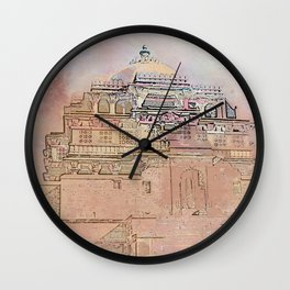 Rajasthan India Temple Sunrise Wall Clock