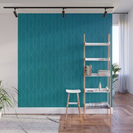 Wave pattern in teal Wall Mural
