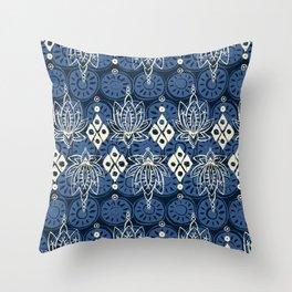 lotus diamond indigo Throw Pillow