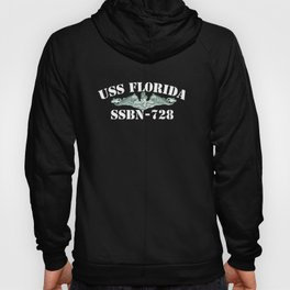 USS FLORIDA (SSBN-728) WHITE LETTERS Hoody