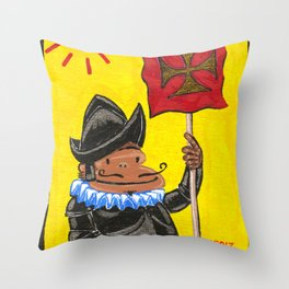 Conquistador Ape on Yellow Throw Pillow