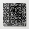 Mudcloth 3 black and white minimal pattern linocut print abstract by monoo
