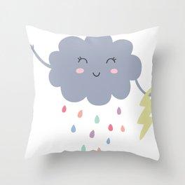 happy little rain cloud Throw Pillow