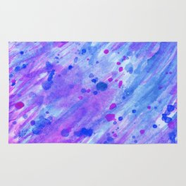 abstract watercolor blue and pink Rug
